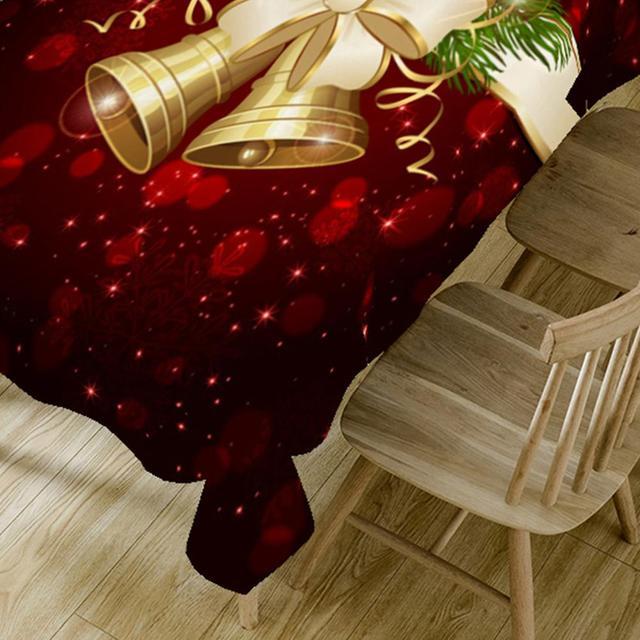 Christmas Bell 3D Printed Pattern Rectangular Tablecloth