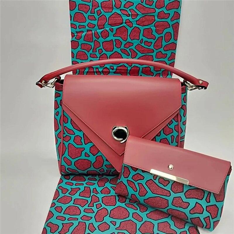 Nouvelle arrivée Africain cire sacs 3 pièces/ensemble, haute qualité femme épaule sac avec 6 yards réel hollandais cire tissu! ybg112403