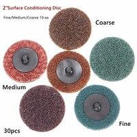 30pcs Sanding Discs 2 Roloc Roll Lock Surface Conditioning Fine Medium Coarse Sanding Pad