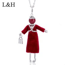 Rhinestone Black Red Dress Doll Pendant Long Chain Necklace 2018 New Maxi Necklaces & Pendants Jewelry Gift For Women