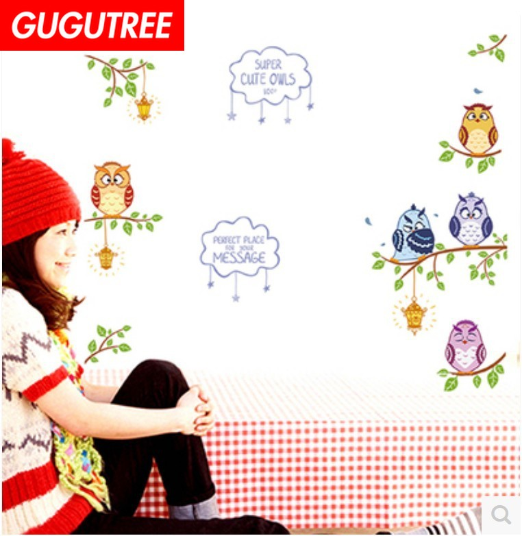 Decorate trees leaf owl bird art wall sticker decoration Decals mural painting Removable Decor Wallpaper LF-1724