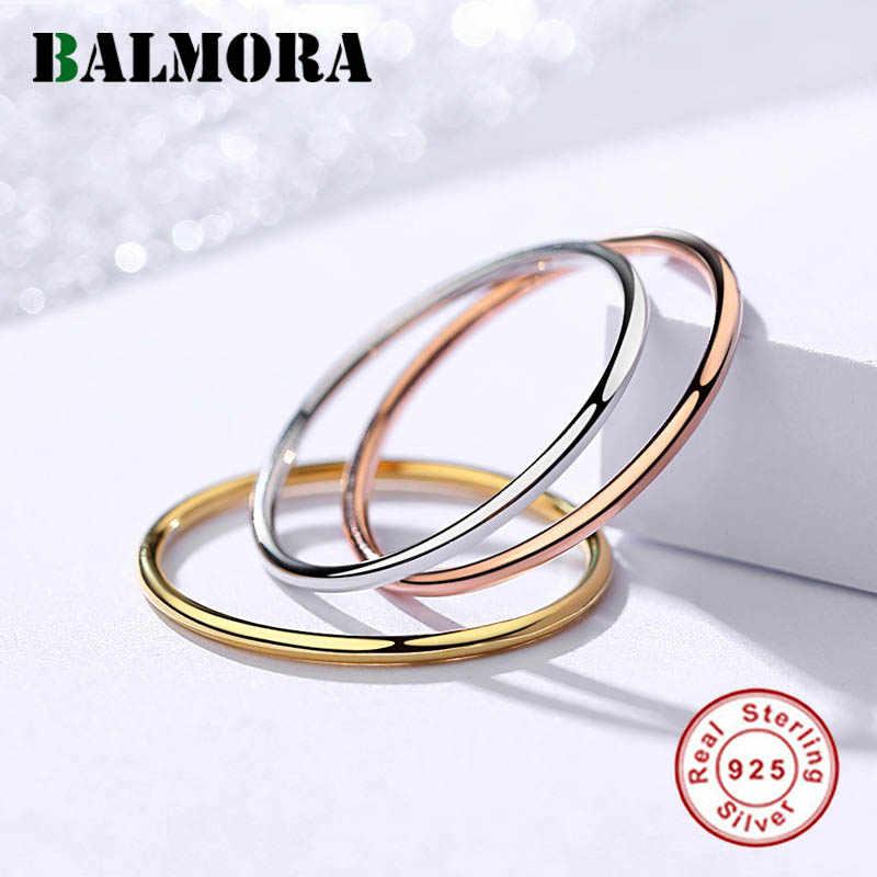 خواتم رائعة من BALMORA عدد 1 قطعة من الفضة الإسترلينية عيار 100% حقيقية 925 للسيدات خاتم على شكل عقلة لمفصل المفصل خاتم متوسط الطول هدية مجوهرات