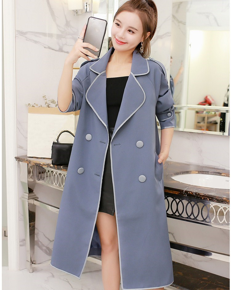 Autumn Winter Sashes Cotton Overcoats Casual Turn-Down Collar Long   Trench   Coat Women Double Breasted Loose Outerwear