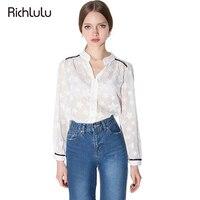 RichLuLu Solid White Sheer Women Blouses Star Print Half Open Collar Long Sleeve Shirt Cute Casual
