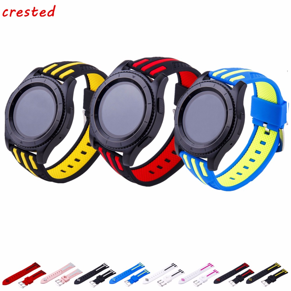 CRESTED Sport silicone band For Samsung Galaxy watch 46mm/Gear S3 Frontier/Classic strap replacement wrist  Bracelet watchbandCRESTED Sport silicone band For Samsung Galaxy watch 46mm/Gear S3 Frontier/Classic strap replacement wrist  Bracelet watchband