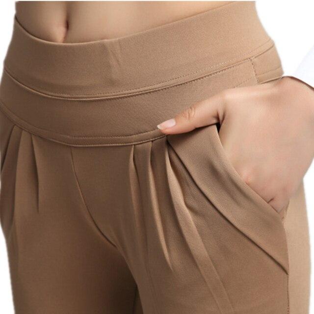NORMOV موضة النساء سراويلي حريمي منتصف الخصر الصيف حجم كبير السراويل الكلاسيكية فضفاضة الإناث مطوي الصلبة السراويل السوداء الإناث