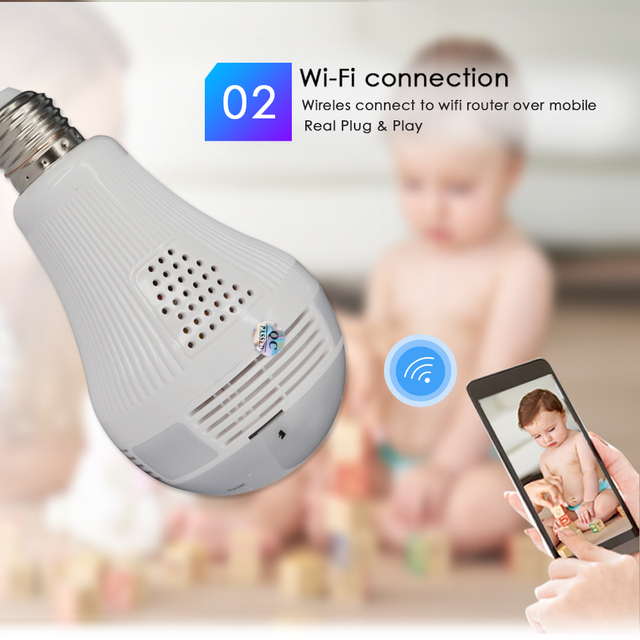 CTVMAN 1080P 360 Panoramic IP Camera Wifi Home Security Wireless CCTV Surveillance Fisheye Network Ipcam Bulb Lamp Cameras