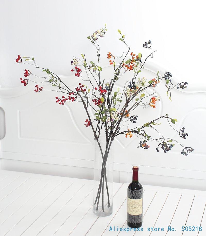 1 PCS Flexible Long Soft Stem Beautiful Artificial Bush Berry Branch Home Decoration Gift F444