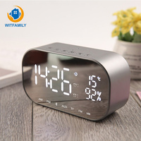FM radio temperature Alarm Clock with Wireless Bluetooth USB charge Speakers Home Mini AUX TF LED Digital Table electric clock