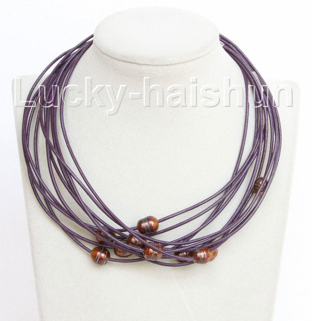 wholesale 10 piece 11mm coffee freshwater pearls purple leather necklace j10702