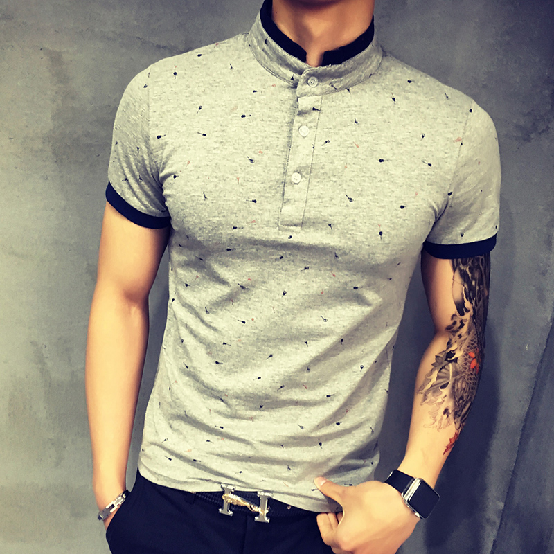 2017 summer guitar printed stand collar polo shirt men for Printed shirts for men