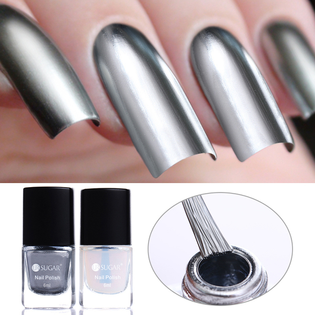 6ml Ur Sugar Mirror Effect Silver Nail Lacquer Base Coat Set Metallic Chrome Polish