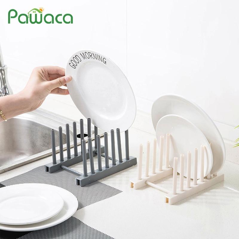 Olla Tapa Estantería Almacenaje Estante Cocina Plástico Platos Secado Desagüe