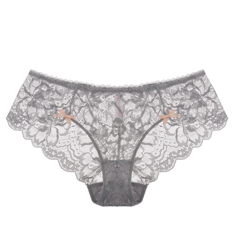 2017 New black lace   panties   women sexy Soft Briefs low-rise transparent Lingerie Floral embroidery   panties   plus size XXL XL