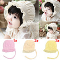 Sweet Summer Infant Girl Cotton Beanie Hat Baby Lace Elastic Sun Hat Children's Princess Beach Cap 5pcs SW055