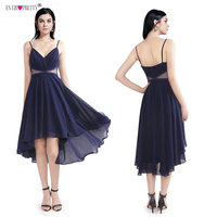 Sexy See Through Waist Homecoming Dresses Ever Pretty Cheap A Line Chiffon Party Gowns Spaghetti Straps Asymmetrical Short Dress