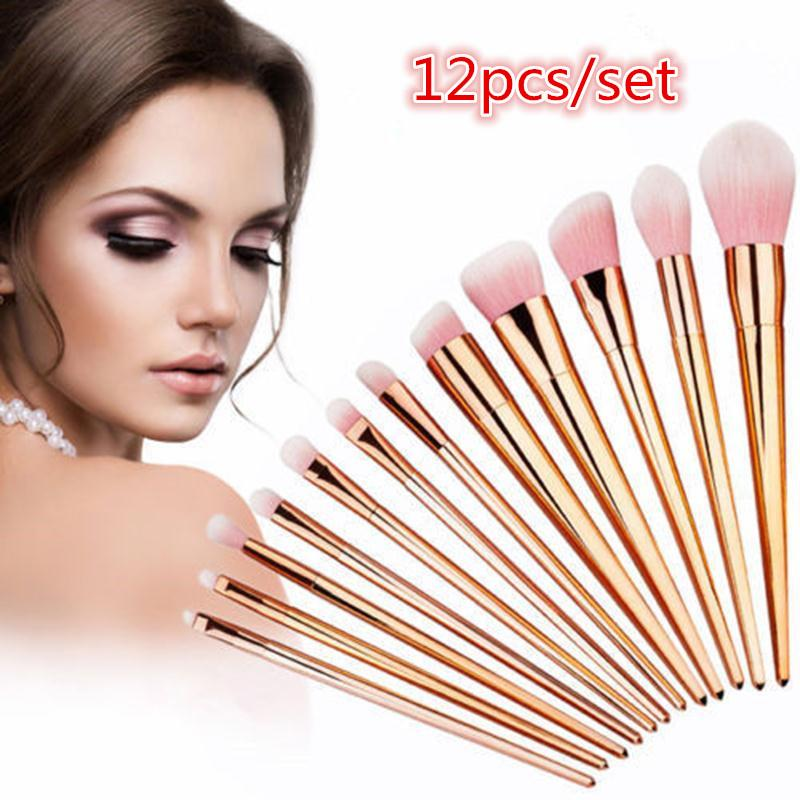 12pcs Natural Rose Red Makeup Brushes Foundation Powder Blending Eye Shadow Lip Eyeliner Brush Set Soft