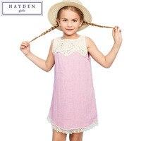 היידן בנות שמלה קיצית תחרה פרחונית במסרגה אחת בנות שמלות Fit Loose עם עיטור תחרה ללא שרוולים נערות בגדי קיץ לילדים