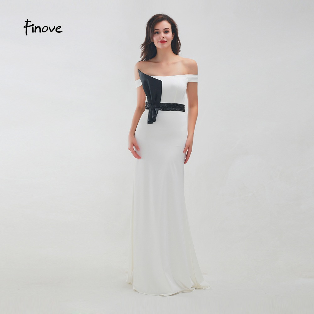 Finove Prom Dress 2019 Long Straight Sexy Off The Shoulder Pleat Flower Beaded Sashes Formal Party Woman Dress Vestido de fiesta