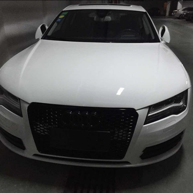 rs7 style black frame front bumper mesh grill grille for audi a7 rs7 s7 2011 2015 car styling in. Black Bedroom Furniture Sets. Home Design Ideas