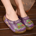 2016 summer women sandals handmade genuine leather slippers vintage wedges platform national flower trend women's shoes flats