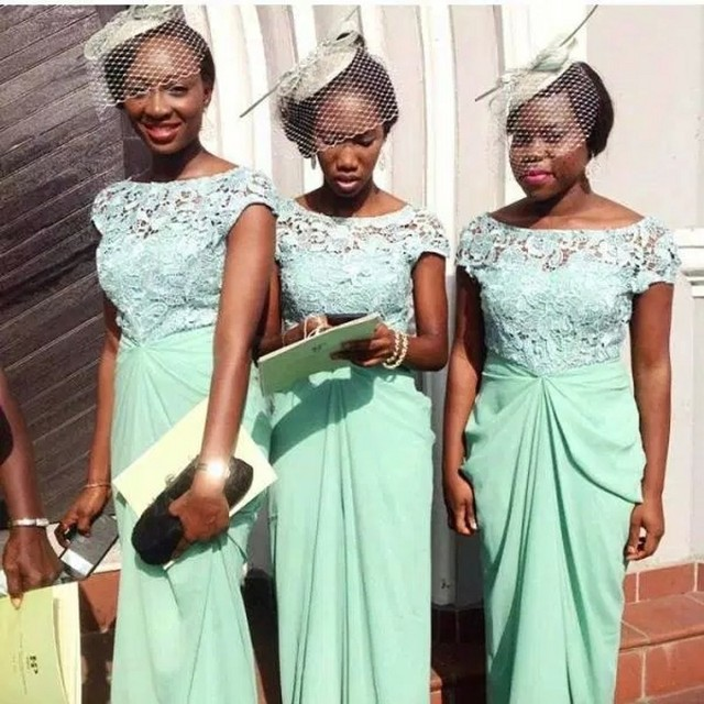 Country Wedding Mint Green Bridesmaid Dress With Delicate Lace Short Sleeve Pleat Chiffon Floor Length Nigeria