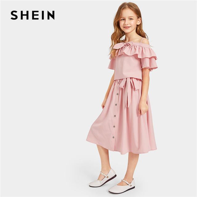 30a75017a SHEIN Kiddie Pink Off Shoulder Ruffle Top With Belted Button Front Skirt  Cute Suit Sets 2019 Summer Flared Casual Girls Outfits