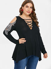 38c0c200 Wipalo Women Plus Size Sexy V-Neck Cold Shoulder Lace Lattice Front Long  Sleeve Black T-Shirt Empire Waist Low Cut Tee Tops