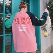 Polera Mujer 2018 Autumn Woman Clothes Korean Style Ulzzang Harajuku Letter Print Patchwork T shirt Women Casual Full Lenth Tops