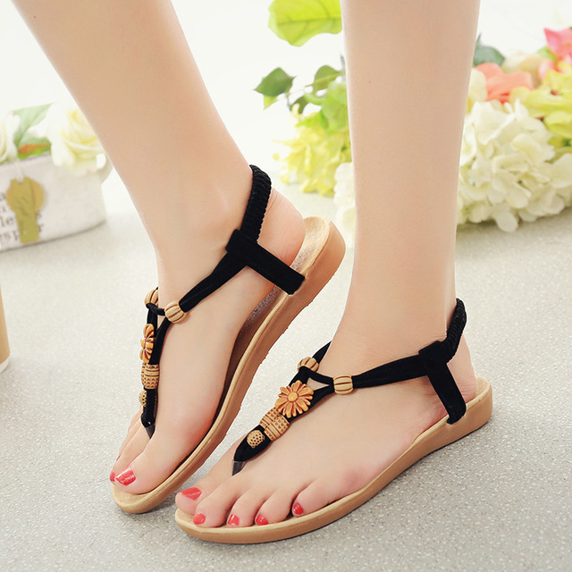 dd7bbedbe0b7 Women s Gladiator Roman Indian Ethnic Style Flats Sandals Shoes Casual Flip  Flops Womens Sandals Summer 2017