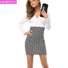 OUBINEW White Office Dresses Women V-Neck Long Sleeve Pencil Dress Ladies Casual Work Dress With White Collar 2017 Autumn New