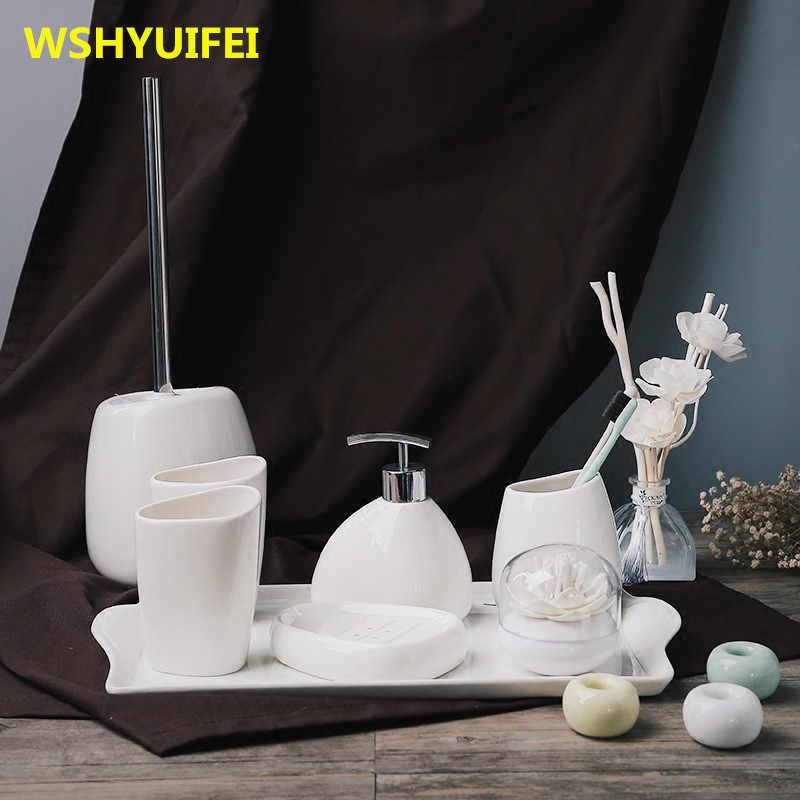 Proste głupi biały ceramiczna armatura łazienkowa zestaw łazienka sześć zestawów zestawy do mycia łazienka apartament typu suite ceramiczne do prania