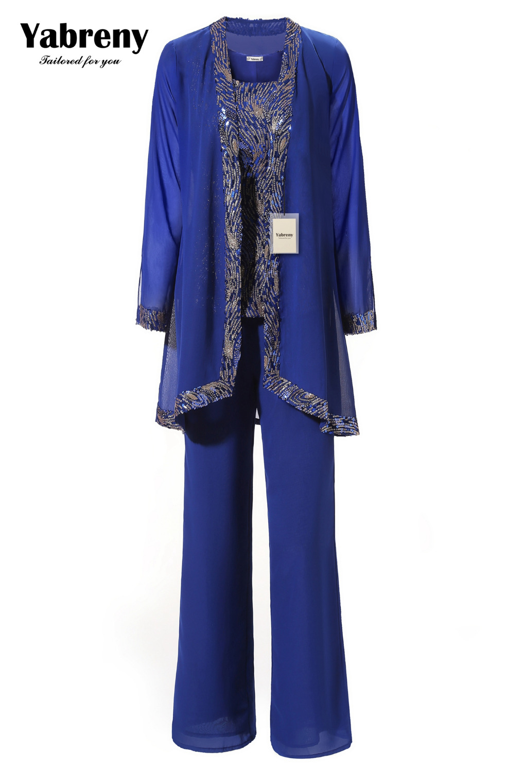 US $162.0  Yabreny Sequins Outfit Mother of bride trousers Special occasion  dressey Plus size Royal blue outfit MT001707 1-in Mother of the Bride ...