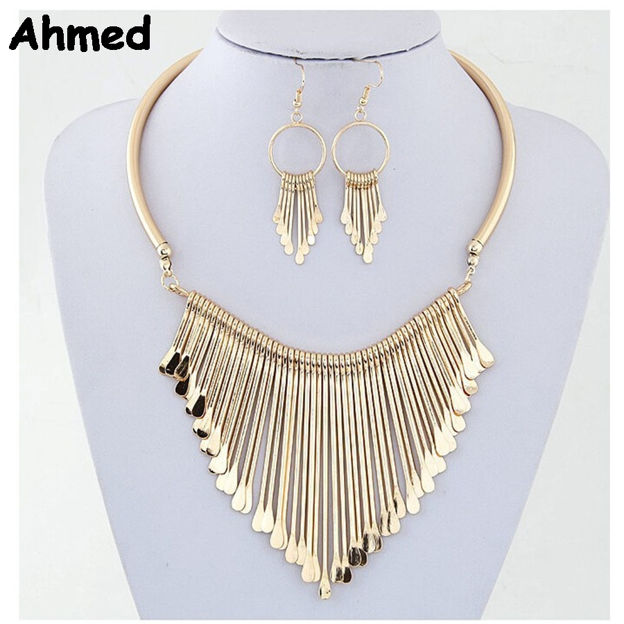 Ahmed Jewelry 2 Colors Fashion Metal Tassel Jewelry Set Necklace Earring For Woman New Boho Maxi Statement Collar Necklace Y-S23