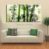 Handgefertigte Abstrakte Kunst Ölgemälde Auf Leinwand Frische Bambus Für Wohnzimmer Decor Hang Gruppe Gemälde