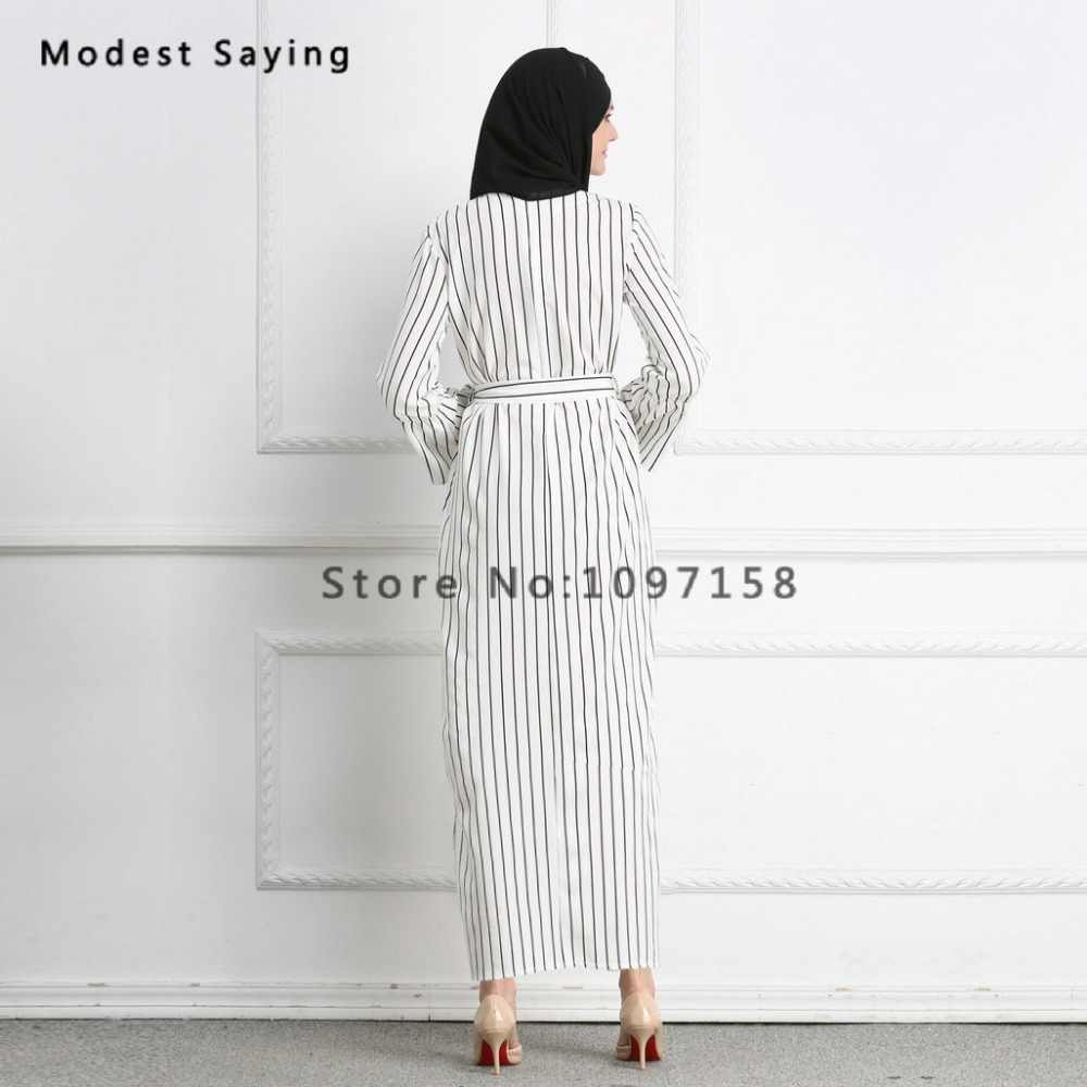 316ddbc512f ... New Fashion Elegant Straight Muslim Stripe Evening Dresses 2018 with  Sashes Long Sleeves Party Prom Gowns ...