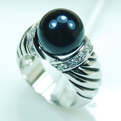 Black Pearl White Crystal Zircon Women 925 Sterling Silver Ring F710 Size 6 7 8 9 10