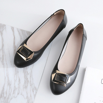 Women Flats Genuine Leather Slip On Boat Shoes Loafers Flat Heel Casual Flats Spring Autumn Flats Point Toe Metal Decoration william landay mission flats