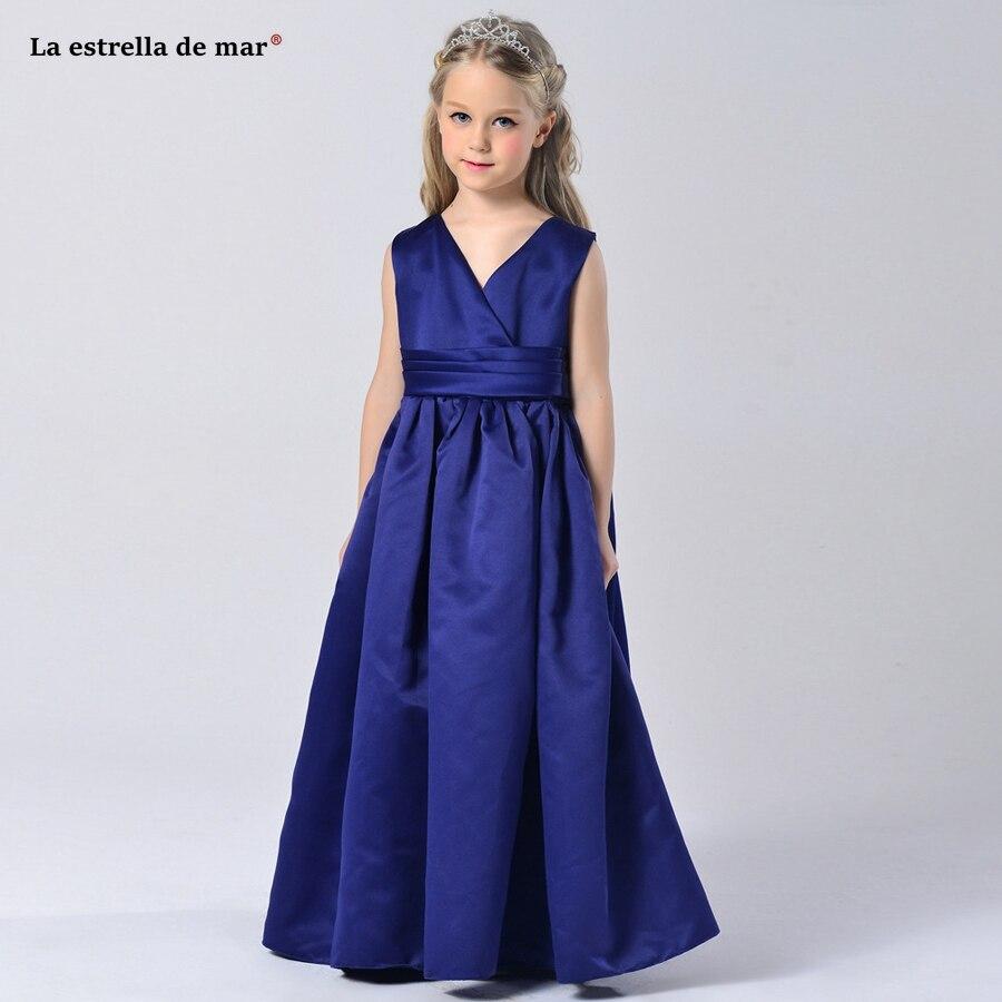 La estrella de mar vestido comunion2019 new sexy V neck satin a line royal blue navy blue   flower     girl     dress   long plus size cheap