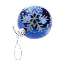 HOT SALE 6pcs Christmas Tree Balls Diameter 6cm Snowflake Color Drawing Decorations Ball Xmas Party Wedding Ornament Blue