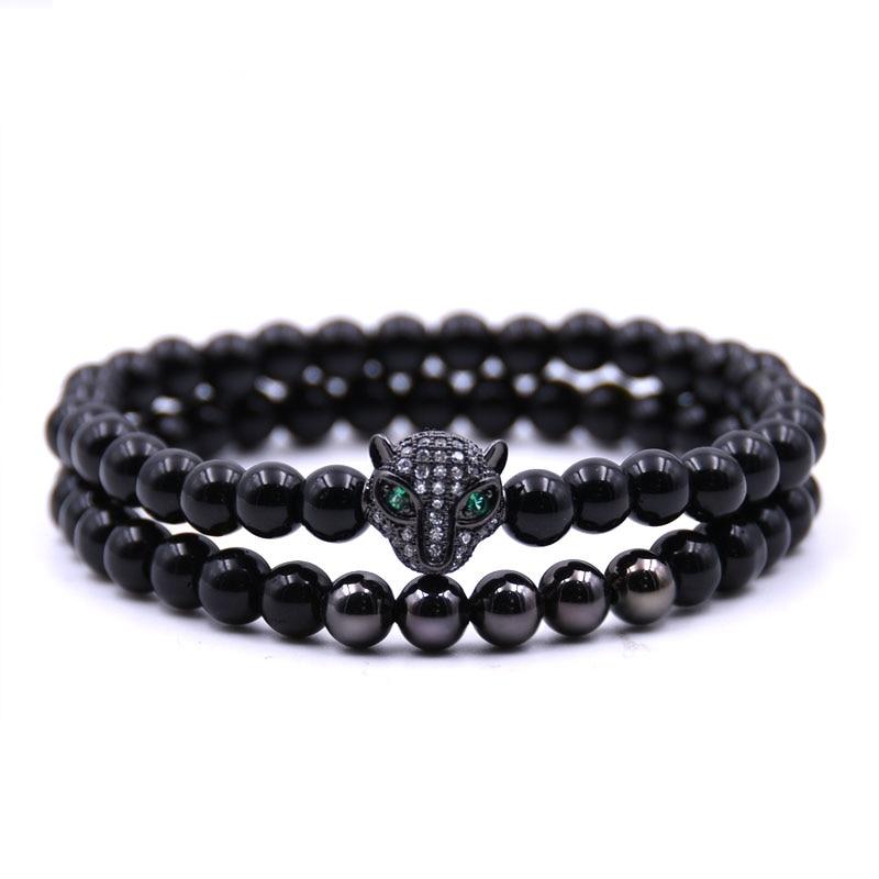 HONEYYIYI 2pcs/set New Brand Trendy Leopard head Charm Brace