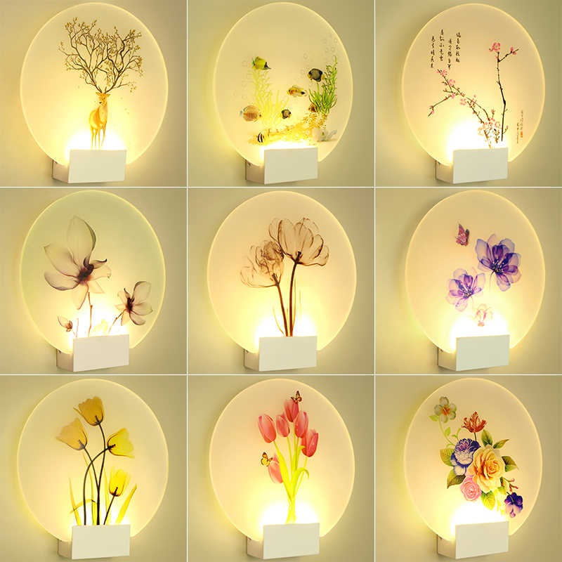 Artpad 8W Modern Romantic Loveliness Classic Picture Wall Lamp for Bedside Bedroom Stair Corridor Porch Nordic Home LED Lighting