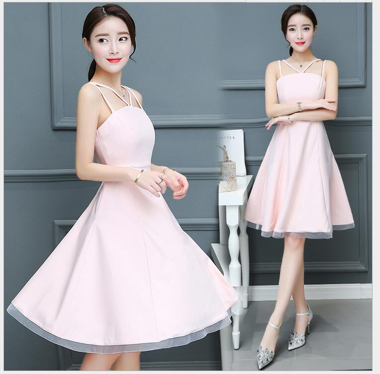 2018 spring and summer new Korean version of the pink sling sleeveless strapless A word in the long paragraph small dress Peng