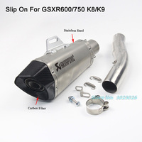 K8 K9 Slip On For Suzuki GSXR600 GSXR750 GSX750R GSX600R Motorcycle Muffler Exhaust Escape with Middle Link Pipe Adapter Carbon