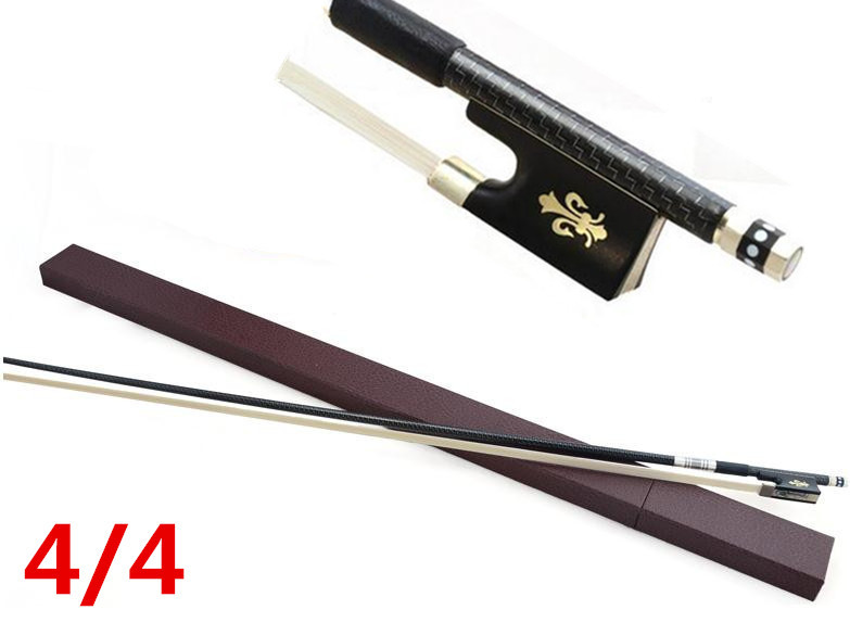 High quality violin bow size 4/4 violin Ebony wood Bow top Horse hair violin accessories bow with Case 1 4 size 812vb pernambuco violin bow high density ebony frog with nickel silver good quality hair straight violin accessories