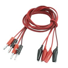 2 Pair Alligator Test Lead Clip to Male Banana Plug Cord Cable 1M Red+Black