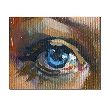 Laeacco Watercolor A Blue Eyes Abstract Decor Wall Artwork Canvas Oil Painting Pictures for Living Room Bedroom No Frame