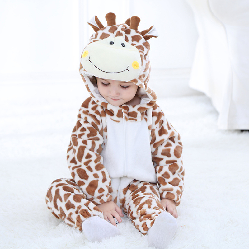 Winter Flannel Monkey Giraffe Baby's Costume Rompers Toddler's One-pieces Baby Boys Girls Party Birthday Soft Material