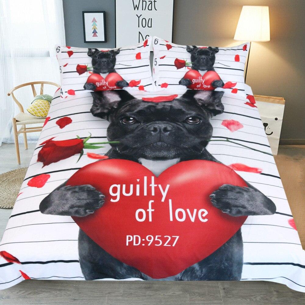 Bouledogue français couplesliterie ensemble couette Animal lit couverture ensemble roi tailles maison Textiles 3 pièces luxe