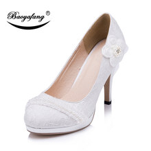 a5bfa46b515a Blanc Fleur Nouvelles Dames Pompes Chaussures De Mariée chaussures De  Mariage Femme Talons hauts chaussures De